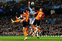 Raheem Sterling of Manchester City challenges for a header during the UEFA Champions League Group C match between Manchester City and Shakhtar Donetsk at the Etihad Stadium on November 26th 2019 in Manchester, England. (Photo by Daniel Chesterton/phcimages.com)<br /> Foto PHC/Insidefoto <br /> ITALY ONLY