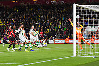 Junior Stanislas of AFC Bournemouth right scores past Michael McGovern of Norwich City for the first goal during AFC Bournemouth vs Norwich City, Caraboa Cup Football at the Vitality Stadium on 30th October 2018