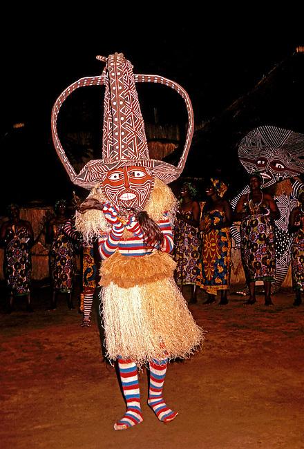 Tribesman performs dance, Zimbabwe, Africa