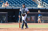 Peoria Javelinas catcher Austin Allen (24), of the San Diego Padres organization, during an Arizona Fall League game against the Scottsdale Scorpions at Peoria Sports Complex on October 18, 2018 in Peoria, Arizona. Scottsdale defeated Peoria 8-0. (Zachary Lucy/Four Seam Images)