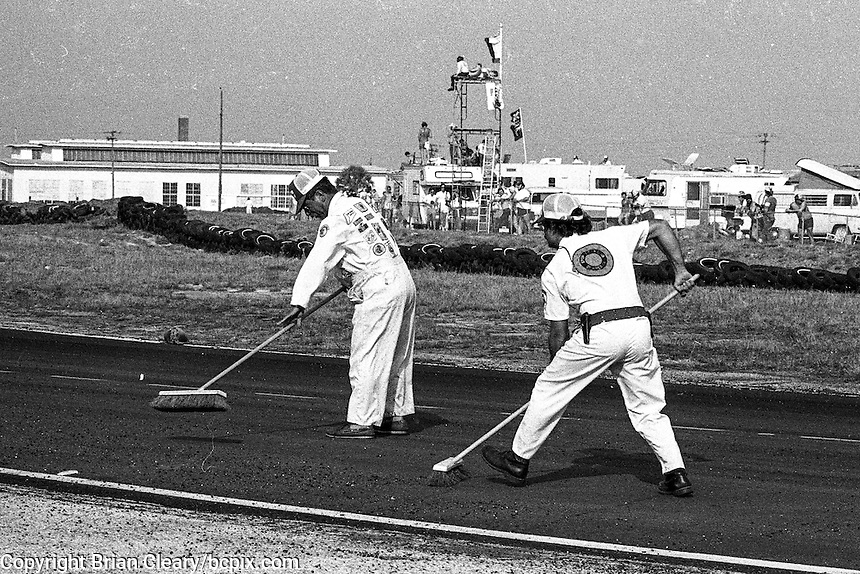 Corner worker clean the track during a caution period, 12 Hours or Sebring, Sebring International Raceway, Sebring, FL, March 19, 1983.  (Photo by Brian Cleary/bcpix.com)