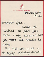 BNPS.co.uk (01202 558833)<br /> Pic: Cheffins/BNPS<br /> <br /> A letter from Diana to Cyril dated October 17, 1992, she tells Cyril the boys are enjoying boarding school but Harry is constantly in trouble.<br />  <br /> Heartwarming unseen letters from Princess Diana in which she speaks of Prince William's love for his younger brother and Prince Harry's rebellious side have emerged for auction.<br /> <br /> In the letters to the late Cyril Dickman, who served as a steward at Buckingham Palace for more than 50 years, she spoke of how William 'could not stop kissing' Harry after he was born in September 1984.<br /> <br /> One particularly touching letter to Mr Dickman, dated March 2, 1985, reads: &quot;William adores his little brother and spends the entire time swamping Harry with an endless supply of hugs and kisses, hardly letting the parents near!&quot; <br /> <br /> The letters will go under the hammer at Cheffins auctioneers on January 5.