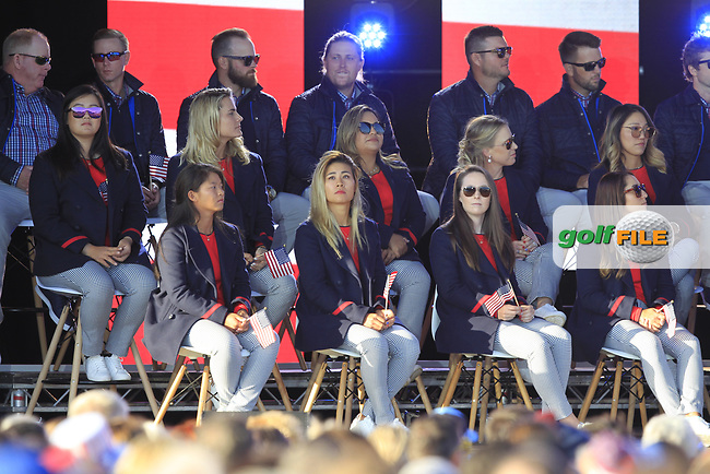 Some of the USA Team during the Opening Ceremony of the Solheim Cup 2019 at Gleneagles Golf CLub, Auchterarder, Perthshire, Scotland. 12/09/2019.<br /> Picture Thos Caffrey / Golffile.ie<br /> <br /> All photo usage must carry mandatory copyright credit (© Golffile | Thos Caffrey)