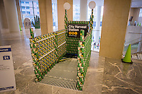 Hunger Free Terminal by National Reporgraphics in the 22nd annual Canstruction Design Competition in New York, seen on Monday, November 10, 2014, on display in Brookfield Place in Lower Manhattan. This sculpture is comprised of 1152 cans and will feed 900 New Yorkers. Architecture and design firm participate to design and build giant structures made from cans of food.  The cans are donated to City Harvest at the close of the exhibit. Over 100,000 cans of food were collected and will be used to feed the needy at 500 soup kitchens and food pantries. (© Richard B. Levine)