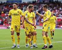 Fleetwood Town's Conor McAleny celebrates scoring the opening goal <br /> <br /> Photographer David Shipman/CameraSport<br /> <br /> The EFL Sky Bet League One - Doncaster Rovers v Fleetwood Town - Saturday 17th August 2019  - Keepmoat Stadium - Doncaster<br /> <br /> World Copyright © 2019 CameraSport. All rights reserved. 43 Linden Ave. Countesthorpe. Leicester. England. LE8 5PG - Tel: +44 (0) 116 277 4147 - admin@camerasport.com - www.camerasport.com