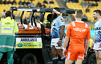 Jack Ram is stretchered off during the Mitre 10 Cup rugby match between Wellington Lions and Northland Taniwha at Westpac Stadium in Wellington, New Zealand on Thursday, 12 October 2017. Photo: Mike Moran / lintottphoto.co.nz