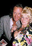 Peter Fonda with wife at Nicky Blairs Restaurant on September 1, 1986 in Los Angeles, California.