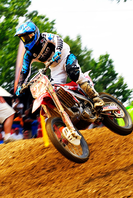Chad Reed of team Honda eyes his line during the Lucas Oil AMA Pro Motocross at Budds Creek National in Mechanicsville, Maryland on Saturday, June 18, 2011. Alan P. Santos/DC Sports Box