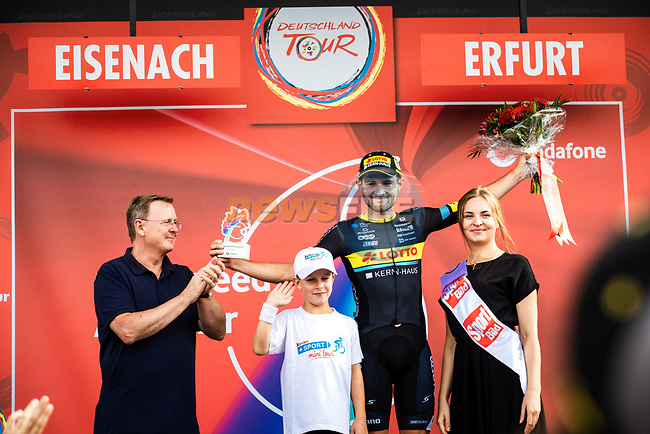 Joshua Huppertz (GER) Team Lotto-Kern Haus wins the combativity award after Stage 4 of the Deutschland Tour 2019, running 159.5km from Eisenach to Erfurt, Germany. 1st September 2019.<br /> Picture: ASO/Henning Angerer | Cyclefile<br /> All photos usage must carry mandatory copyright credit (© Cyclefile | ASO/Henning Angerer)
