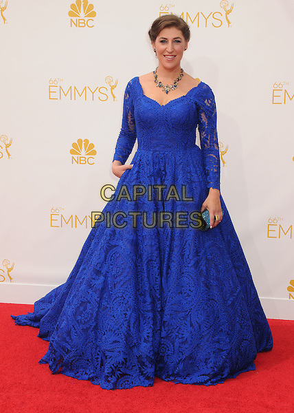 25 August 2014 - Los Angeles, California - Mayim Bialik. 66th Annual Primetime Emmy Awards - Arrivals held at Nokia Theatre LA Live. <br /> CAP/ADM/BP<br /> &copy;BP/ADM/Capital Pictures