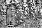 B&W photo of outhouse on Jolliffe island, Yellowknife