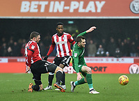 Preston's Tom Barkhuizen is fouled by Brentford's Henrik Dalsgaard<br /> <br /> Photographer Jonathan Hobley/CameraSport<br /> <br /> The EFL Sky Bet Championship - Brentford v Preston North End - Saturday 10th February 2018 - Griffin Park - Brentford<br /> <br /> World Copyright &copy; 2018 CameraSport. All rights reserved. 43 Linden Ave. Countesthorpe. Leicester. England. LE8 5PG - Tel: +44 (0) 116 277 4147 - admin@camerasport.com - www.camerasport.com