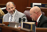 Nevada Assembly Republicans Paul Anderson, left, and Ira Hansen work on the Assembly floor at the Legislative Building in Carson City, Nev., on Tuesday, April 21, 2015. <br /> Photo by Cathleen Allison
