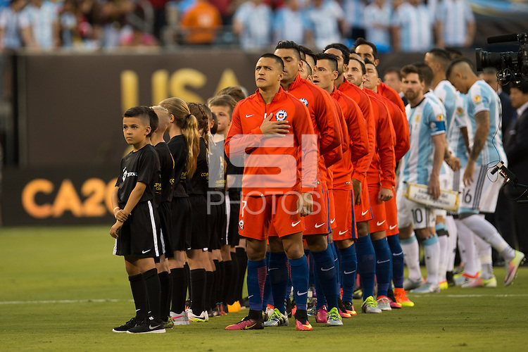 Action photo during the match Argentina vs Chile, Corresponding to Great Final of the America Centenary Cup 2016 at Metlife Stadium, East Rutherford, New Jersey.<br /> <br /> <br /> Foto de accion durante el partido Argentina vs Chile, correspondiente a la Gran Final de la Copa America Centenario 2016 en el  Metlife Stadium, East Rutherford, Nueva Jersey, en la foto: Alexis Sanchez y Gonzalo Jara de Chile<br /> <br /> <br /> 26/06/2016/MEXSPORT/Jorge Martinez.