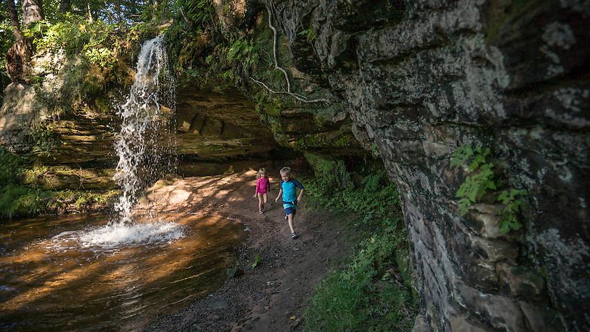 Exploring Scott Falls near AuTrain, Michigan.