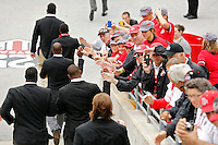 Ohio State Buckeyes football team walks into the stadium for their game against Kent State Golden Flashes in Ohio Stadium on September 13, 2014.  (Dispatch photo by Kyle Robertson)