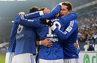 FUSSBALL   1. BUNDESLIGA   SAISON 2012/2013    18. SPIELTAG FC Schalke 04 - Hannover 96                           18.01.2013 Jubel nach dem 3:2: Ciprian Marica, Marco Hoeger und  Julian Draxler (v.l, alle FC Schalke 04)