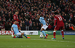 Kyle Walker of Manchester City makes mistake to allow Roberto Firmino of Liverpool to pass to scorer Mohamed Salah of Liverpool during the Champions League Quarter Final 1st Leg, match at Anfield Stadium, Liverpool. Picture date: 4th April 2018. Picture credit should read: Simon Bellis/Sportimage