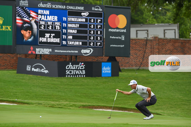 Ryan Palmer (USA) lines up his putt on 16 during round 1 of the 2019 Charles Schwab Challenge, Colonial Country Club, Ft. Worth, Texas,  USA. 5/23/2019.<br /> Picture: Golffile | Ken Murray<br /> <br /> All photo usage must carry mandatory copyright credit (© Golffile | Ken Murray)