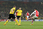Arsenal's Alexis Sanchez scoring his sides second goal<br /> <br /> UEFA Champions League- Arsenal vs Borussia Dortmund- Emirates Stadium - England - 26th November 2014 - Picture David Klein/Sportimage