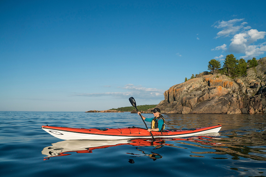 Sea kayaking Lake Superior at Marquette, Michigan in the Current Designs Prana kayak.