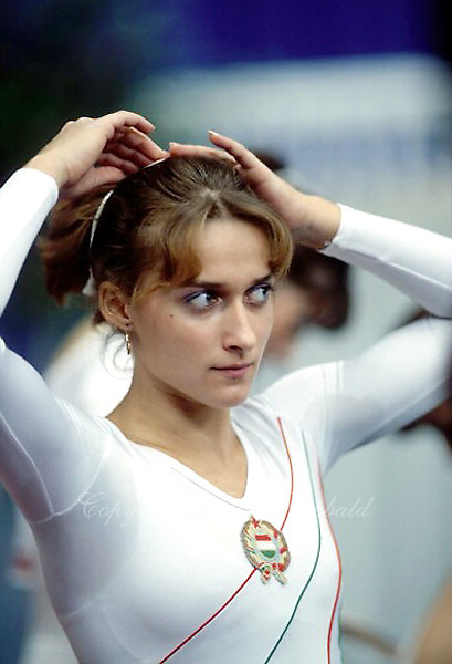 Monika Juhasz Nagy of Hungary is shown in portrait on sidelines at 1985 World Championships in women's artistic gymnastics at Montreal, Canada in mid November, 1985.  Photo by Tom Theobald.