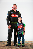 Feb 5, 2020; Pomona, CA, USA; NHRA top fuel driver Terry McMillen (left) poses for a portrait with son Cameron McMillen during NHRA Media Day at the Pomona Fairplex. Mandatory Credit: Mark J. Rebilas-USA TODAY Sports