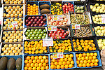 Close up of fruit stall in Barrio Macerana market, Seville, Spain