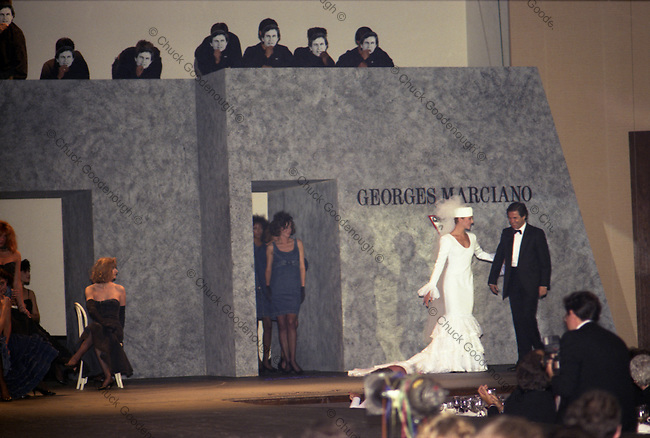 Georges Marciano is led out onto the Runway after a Guess Fashion Show in the 1980's