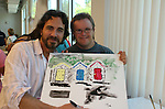 Thorsten Kaye and Frankie paints at the 11th Annual SoapFest - Painting Party to benefit Marco Island YMCA, theatre program & Art League of Marco Island on May 2, 2009 on Marco Island, FLA. (Photo by Sue Coflin/Max Photos)