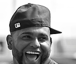 (Ft. Myers, FL, 03/07/15) Boston Red Sox third baseman Pablo Sandoval laughs as he greets members of the Minnesota Twins prior to a Major League Baseball spring training baseball game against the Minnesota Twins at JetBlue Park in Ft. Myers, Florida on Saturday, March 07, 2015. Photo by Christopher Evans