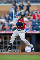 Slade Heathcott (12) of the Scranton/Wilkes-Barre RailRiders follows through on his swing against the Durham Bulls at Durham Bulls Athletic Park on May 15, 2015 in Durham, North Carolina.  The RailRiders defeated the Bulls 8-4 in 11 innings.  (Brian Westerholt/Four Seam Images)
