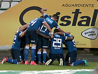 MANIZALES - COLOMBIA - 29 - 03 - 2018: Los jugadores de Millonarios, celebran el gol anotado al Once Caldas durante partido entre Once Caldas y Millonarios, de la fecha 11 por la Liga de Aguila I 2018 en el estadio Palogrande en la ciudad de Manizales. / The players of Millonarios, celebrate a scored goal to Once Caldas during a match between Once Caldas and Millonarios, of the 11th date for the Liga de Aguila I 2018 at the Palogrande stadium in Manizales city. Photo: VizzorImage  / Santiago Osorio / Cont.
