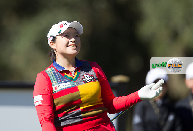 Ha Na Jang likes her shot to the 15th   during the Second day of the Second round of the LPGA Coates Golf Championship 2016 , from the Golden Ocala Golf and Equestrian Club, Ocala, Florida. 5/2/16<br /> Picture: Mark Davison | Golffile<br /> <br /> <br /> All photos usage must carry mandatory copyright credit (&copy; Golffile | Mark Davison)