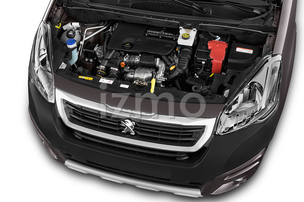 Car Stock2015 Peugeot Partner Tepee Outdoor 5 Door Mini Mpv Engine high angle detail view