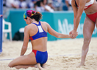 Women playing beach volleyball
