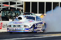 May 4, 2012; Commerce, GA, USA: NHRA pro stock driver Larry Morgan during qualifying for the Southern Nationals at Atlanta Dragway. Mandatory Credit: Mark J. Rebilas-