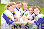GAME ON: Getting their hands on the ball at the VHI GAA Cu?l Camp in Ballybunion last week, l-r: Sarah Moore, Erica Mulcare, Orla Mulvihill, Sarah O'Connor, Oonagh McGinty.