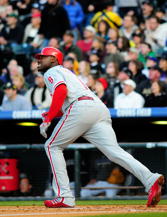 April 11, 2009: Phillies 1st baseman and 2009 National League Most Valuable Player candidate Ryan Howard hits a double during a game between the Philadelphia Phillies and the Colorado Rockies at Coors Field in Denver, Colorado. The Phillies beat the Rockies 8-4.