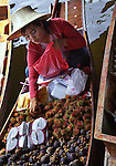 A beautiful Thai woman wearing a sun had selects rambutan (Ngoh) for a customer buying fruit from her boat along the docks of the Floating Market. Also, on her boat she has dragon fruit, mangosteen and guava.