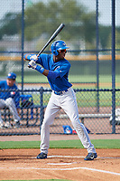 GCL Blue Jays right fielder Aldo Ovando (71) at bat during the first game of a doubleheader against the GCL Yankees East on July 24, 2017 at the Yankees Minor League Complex in Tampa, Florida.  GCL Blue Jays defeated the GCL Yankees East 6-3 in a game that originally started on July 8th.  (Mike Janes/Four Seam Images)