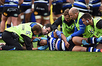 Ben Tapuai of Bath Rugby is treated by medics after a heavy collision. Aviva Premiership match, between Bath Rugby and Worcester Warriors on October 7, 2017 at the Recreation Ground in Bath, England. Photo by: Patrick Khachfe / Onside Images