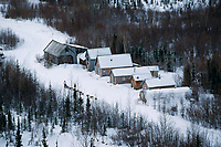 Aerial of Nils Hahn at Ophir Checkpoint Alaska<br /> 2004 Iditarod