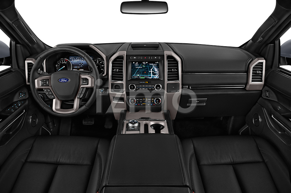Stock photo of straight dashboard view of 2019 Ford Expedition XLT 5 Door SUV Dashboard