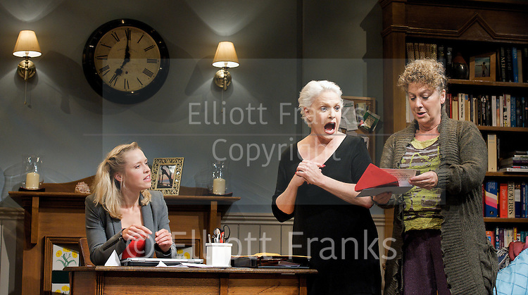 A Round-Heeled Woman <br /> by Jane Prowse<br /> at The Riverside Studios, Hammersmith, London, Great Britain <br /> 18th October 2011 <br /> Press photocall<br /> <br /> Sharon Gless (as Jane Juska)<br /> <br /> Jane Bertish (as Celia)<br /> Beth Cordingly (as Nathalie)<br /> <br /> <br /> <br /> directed by Jane Prowse<br /> <br /> Photograph by Elliott Franks