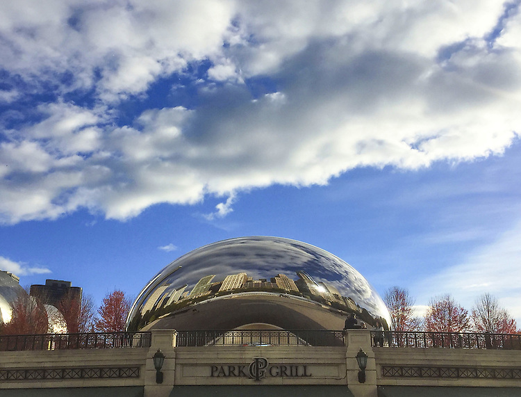 "Clouds pass over Chicago's iconic ""Cloud Gate"" sculpture, affectionately known as ""The Bean"", Friday, Nov. 11, 2016. (DePaul University/Jamie Moncrief)"