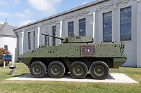 The 39 brigade LAV III monument honoring Canadian Armed Forces who served and died in Afghanistan, Seaforth Armoury, Vancouver, BC, Canada