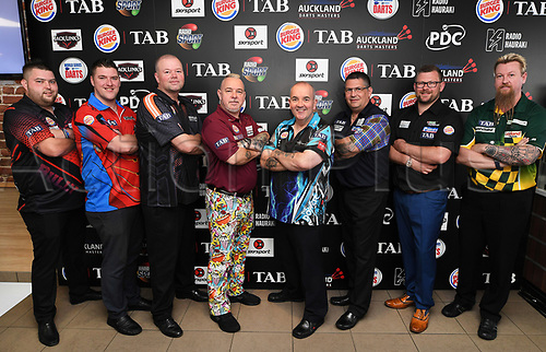 10th August 2017, Auckland, New Zealand; Auckland Darts Masters Press Conference and Draw;  PDC Darts players pose for a group photo