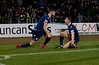 1st November 2019; Dens Park, Dundee, Scotland; Scottish Championship Football, Dundee Football Club versus Greenock Morton; Jamie Ness of Dundee is congratulated after scoring for 2-1 by Cammy Kerr  - Editorial Use