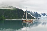 Sailboat in Harriman Fjord, Prince William Sound, Alaska